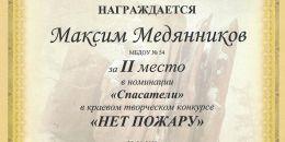 Диплом 2 место Медянников Максим