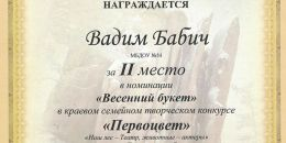 Диплом 2 место Бабич Вадим